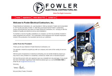 Fowler Electrical Contractors website image